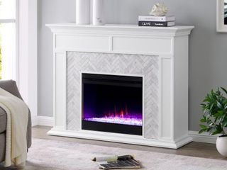 Torton Contemporary White Wood Electric Fireplace  Retail 752 99  Fireplace Insert  Not Included