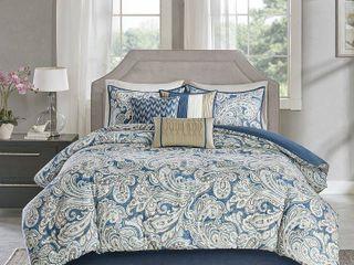 Blue Celena Printed Comforter Queen 7pc Set