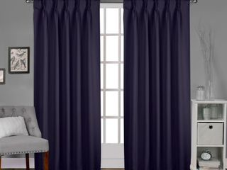 Porch   Den Bolling Sateen Woven Blackout Curtain Panel Pair with Pinch Pleat Top