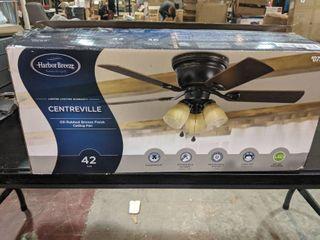 Harbor Breeze Centreville 42 in Oil rubbed Bronze Indoor Flush Mount Ceiling