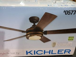 Kichler Barrington Woodgrain 52 in led Indoor Downrod Ceiling Fan Remote