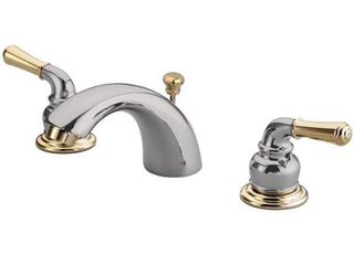 Kingston Brass KB954 Magellan II 4 Inch to 8 Inch Mini Widespread lavatory Faucet with Metal lever handle  Polished Brass  Polished Chrome