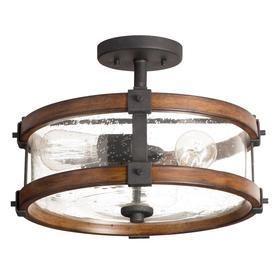 Kichler 38171 Distressed Wood Semi Flush Mount light  3  Black  GlASS IS BROKE