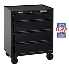 CRAFTSMAN Standard Duty 26 5 in W x 32 5 in H 4 Drawer Ball bearing Steel Tool Cabinet  Black  Damaged see pictures