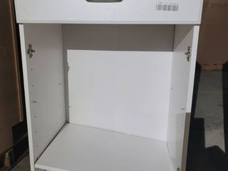 White microwave stand missing the doors