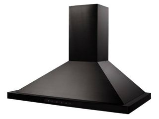 ZlINE   36  Externally Vented Range Hood   Black stainless steel  Plugged in and turns on  Small dent on back corner see pictures