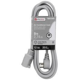 Utilitech 9 ft 20 Amp 110 Volt 12 3 Gray Indoor Extension Cord