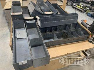 Tote of 65 parts bins 1 jpg