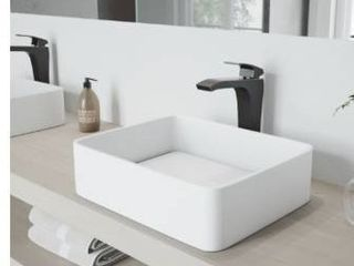 Vigo VG04013 Jasmine 18 1 8  Matte Stone Rectangular Vessel Bathroom Sink in Matte White