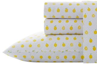 Queen   lemons  Poppy   Fritz Cotton Percale Printed Bed Sheet Set
