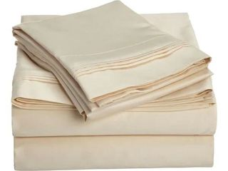 King   Platinum  Superior Egyptian Cotton 1500 Thread Count Solid Deep Pocket Bed Sheet Set Retail 187 99