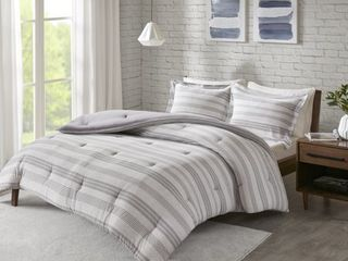 Grey   Twin   Twin Xl  Urban Habitat Mason Stripe Print Ultra Soft Cotton Blend Jersey Knit Comforter Set