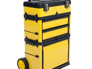 Stackable Toolbox Rolling Mobile Organizer with Handle by Stalwart  Has a dent