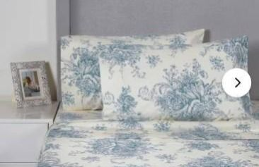 light Blue   Queen  Printed Design Cotton Collection 400 Thread Count light Blue Toile Bed Sheet Set Retail 94 99
