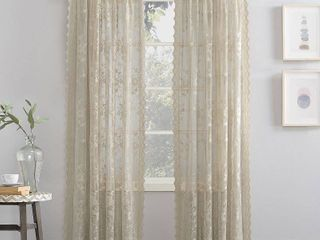 Oatmeal   58  w x 63  l  No  918 Alison Floral lace Sheer Rod Pocket Curtain Panel