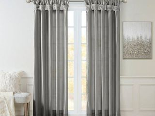 50 W x 84 l   Charcoal  Madison Park Natalie Twisted Tab lined Single Curtain Panel