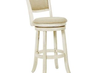 Swivel Stool 30  with Solid Back in Antique White Finish