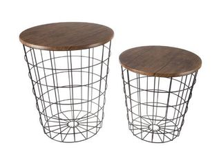 lavish Home Faux Wood Nesting End Tables with Storage  Set of 2  Retail 179 49