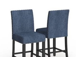 Strick   Bolton Gallaccio 25 inch Blue Fabric Stool  Set of 2    40 H x 18 3 W x 22 3 l Retail 156 49