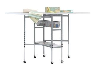 SewingRite Mobile Multipurpose Folding Height Adjustable CutStation with Grid Top   Storage Mesh Baskets   Silver White