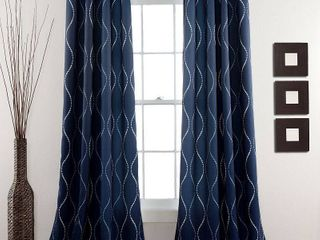 Swirl Room Darkening Window Curtain Navy Set 52x84