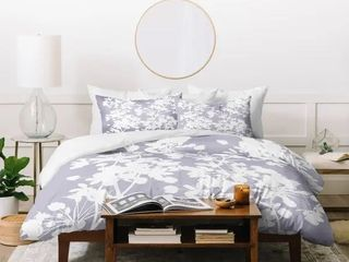 King   3 Piece  Deny Designs Delicate Floral Pattern on lilac Duvet Cover Set