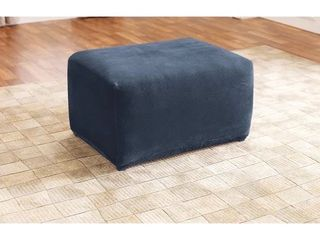 Navy  SureFit Home Decor Stretch Pique Square Ottoman Cover
