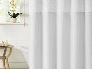 White  Hookless Bahamas Shower Curtain with Snap On liner