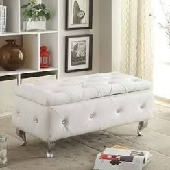 AC Pacific Upholstered Tufted Storage Bench