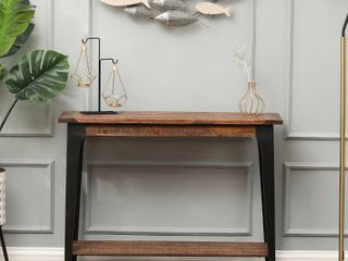 Wood  amp  Metal Console Entryway Table