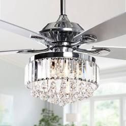 Modern Chrome  amp  Crystal Ceiling Fan w  Remote