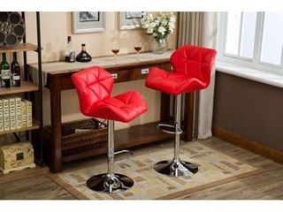 Glasgow Faux leather Tufted Adjustable Height Bar Stools   Set of 2