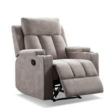 Fabric Theatre Seating Recliner Chair w  2 Cup Holders
