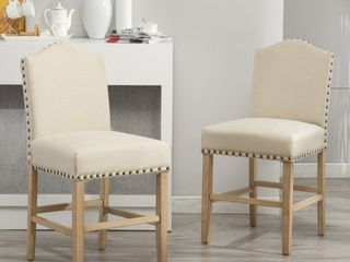 Urban Style Solid Wood Nailhead Padded Stools   Set of 2