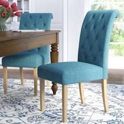 Upholstered Accent Dining Chairs   Set of 2