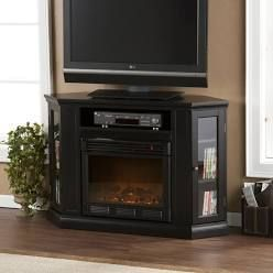 Copper Grove Brick Accent Firebox Media Console Fireplace
