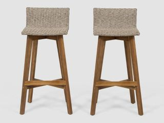 light Brown Teak Finish la Brea Outdoor Acacia Wood and Wicker Barstools  Set of 2  by Christopher Knight Home Retail  142 49