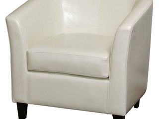 Off White Preston Bonded leather Ivory Club Chair by Christopher Knight Home Retail  284 99