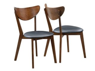 Set of 2 18in Dining Chairs  Black and Dark Walnut   Retail 181 49