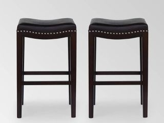 Black Dark Brown Silver Tiffin Contemporary Studded Fabric Bar Stool  Set of 2  by Christopher Knight Home Retail  179 99