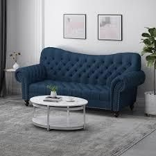 Wastacio Chesterfield Button Tufted Fabric 3 Seater Sofa Navy Blue