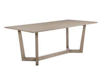 Grey Oak Rectangle 6 Artas Grey Oak Trestle Base Dining Table Retail  809 49