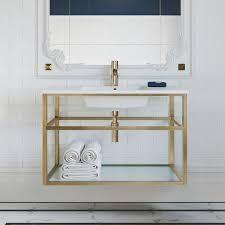 Gold Finish Swiss Madison Pierre 24in Single  Metal Frame  Open Shelf  Bathroom Vanity Retail  493 49
