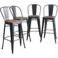 Black Andeworld High Back Industrial Indoor Outdoor Bar Chairs Metal Bar Stools with Wooden Seat 30 inch Retail 257 99