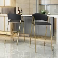 Folwell Modern Faux leather Barstool  Set of 2  by Christopher Knight Home  Retail 269 49