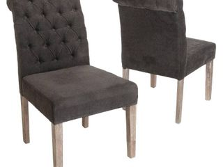 Dinah Roll Top Dark Grey Fabric Dining Chair  Set of 2  by Christopher Knight Home Retail 222 49