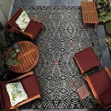 Gelato Sandawe Black Dark Gray Indoor Outdoor Area Rug Retail 117 99