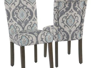 Two Parsons Dining Chairs in Suri Blue Slate