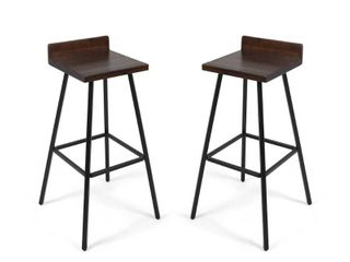Bidwell Contemporary Indoor Acacia Wood Bar Stools  Set of 2  by Christopher Knight Home Retail 141 49