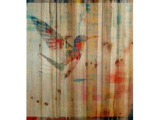Handmade Parvez Taj   Humming Bird Flies Print on Natural Pine Wood  Retail 165 49